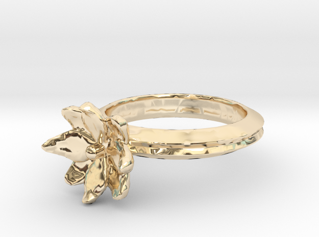 Simple Lotus Flower Ring in 14k Gold Plated Brass