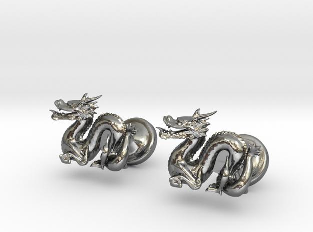 Dragon Cufflinks in Polished Silver