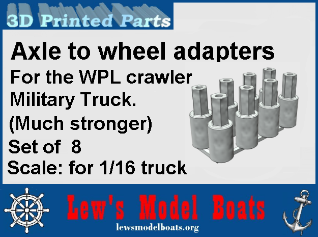 WPL rear axle wheel adapters (set of 8) in White Natural Versatile Plastic: 1:16