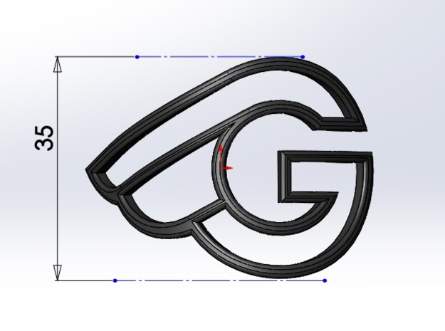 G-bicycle front logo - height 35mm - diameter 42mm in White Natural Versatile Plastic