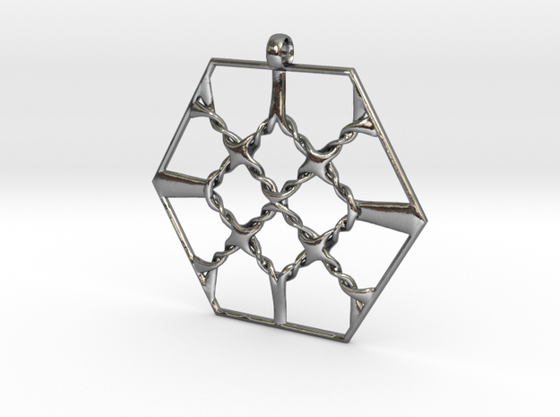 HexKn Pendant in Polished Silver