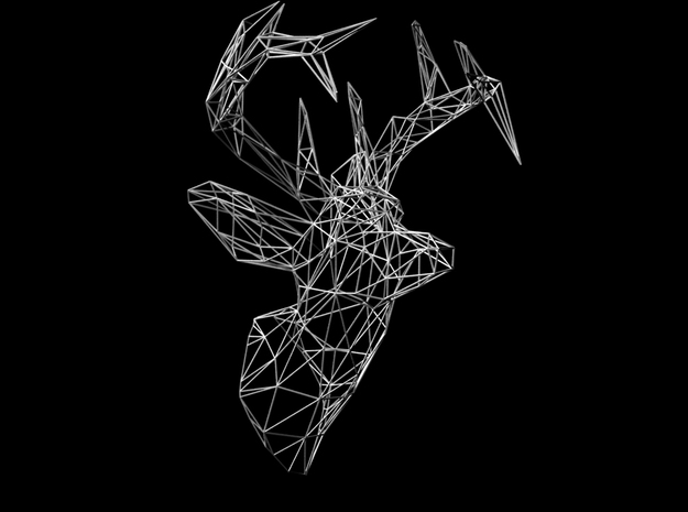 Deer Wire Trophy in White Natural Versatile Plastic