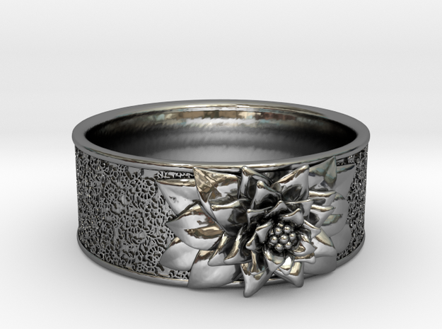 In Bloom in Fine Detail Polished Silver