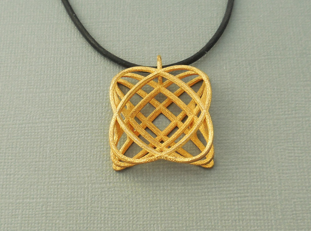 Basket - Pendant in Polished Steel and Polished Ca
