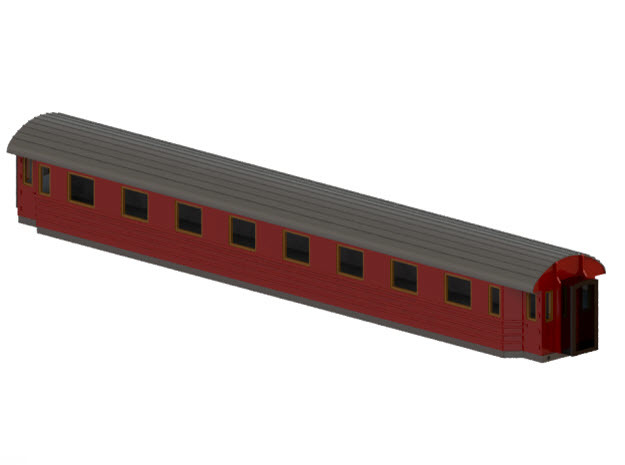 Bo4b - Swedish passenger wagon in Smooth Fine Detail Plastic
