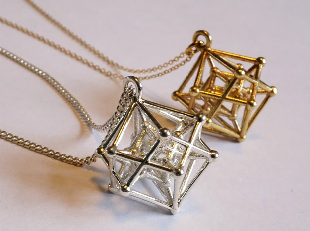 Hyperpoly Pendant in Rhodium Plated Brass