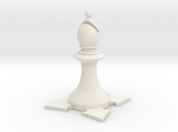Instructional Chess Set - Bishop in White Natural Versatile Plastic: Small