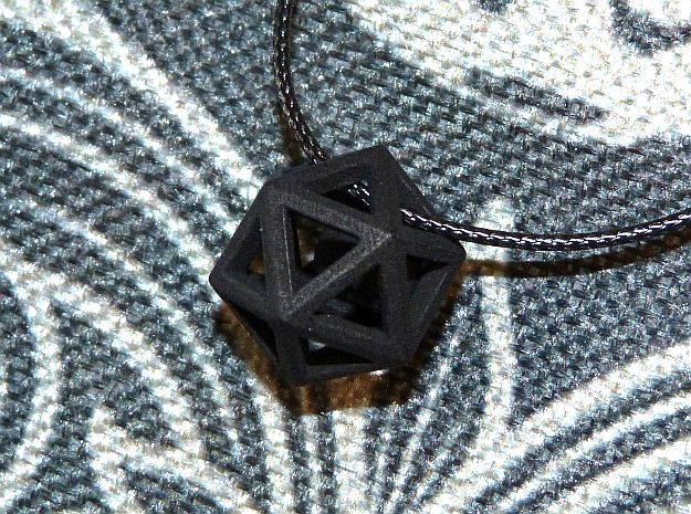Polyhedron with interlocked heart pendant in Black Premium Versatile Plastic
