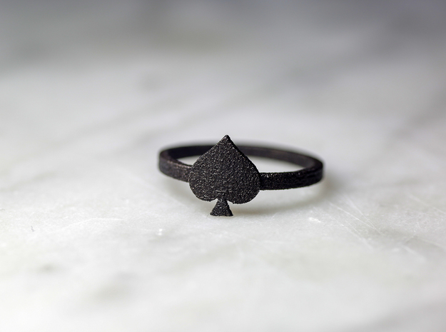 Spade Charm Ring, Matte Black Steel in Matte Black Steel: 8 / 56.75