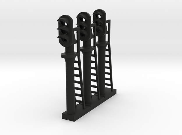 Block Signal 3 Light (Qty 3) - N 160:1 Scale in Black Natural Versatile Plastic
