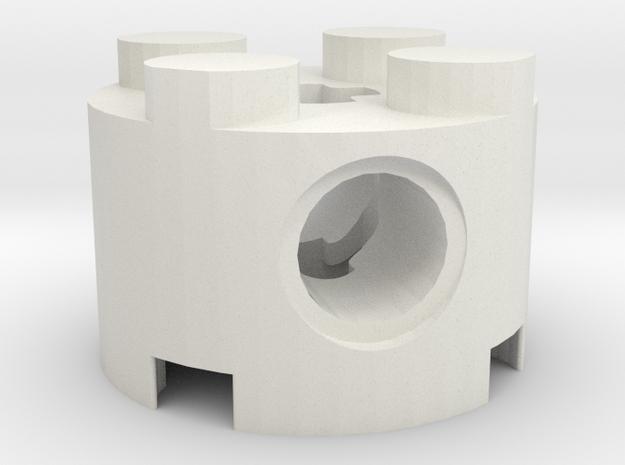 4X4 ROUND LEGO W-CROSS HOLE in White Natural Versatile Plastic