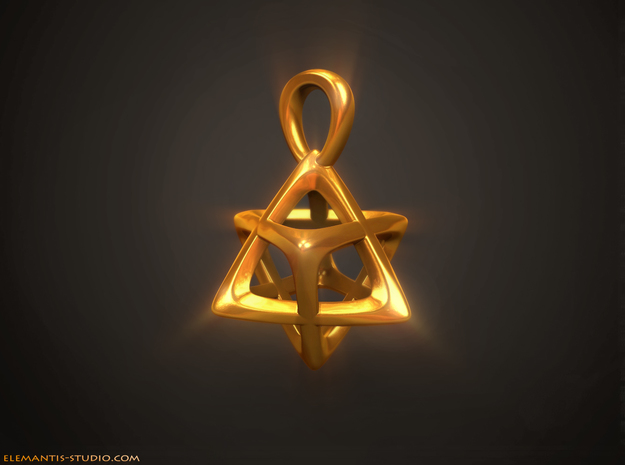 Star Tetrahedron (Merkaba) Pendant in Natural Brass