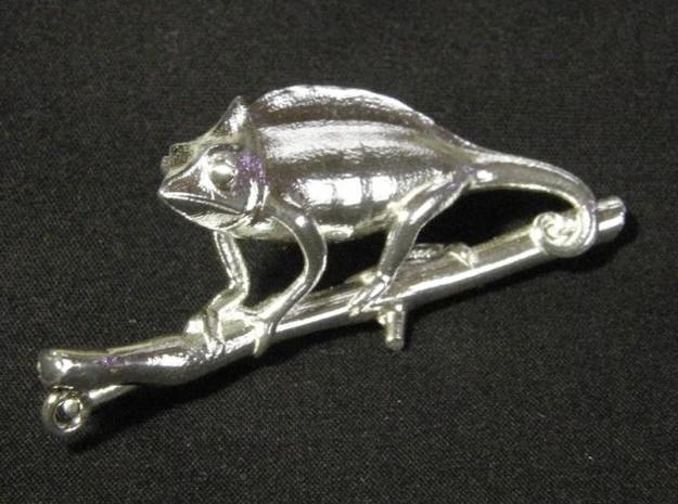 Chameleon Pendant Head in Raw Silver