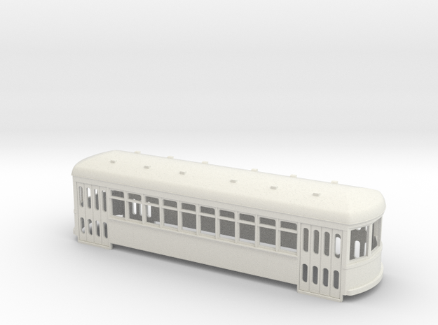 S scale double truck trolley car in White Natural Versatile Plastic
