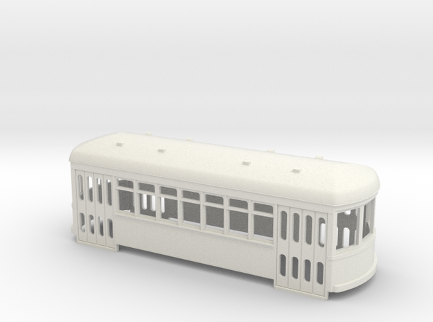 S scale Single truck trolley car in White Natural Versatile Plastic
