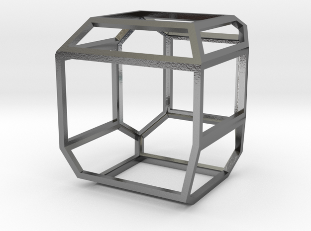 Cube pedant drop normal size in Polished Silver