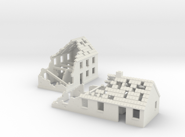 1:160 Ruins x2 in White Natural Versatile Plastic