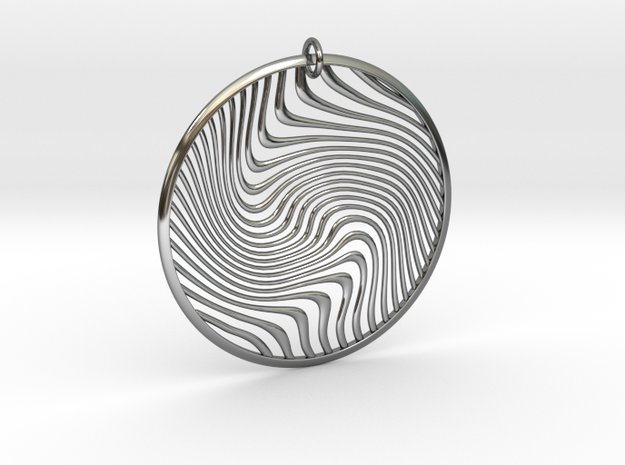 Warped Geometry Pendant in Fine Detail Polished Silver