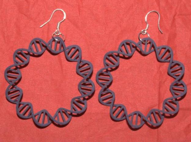 Circular DNA Plasmid earrings 3d printed