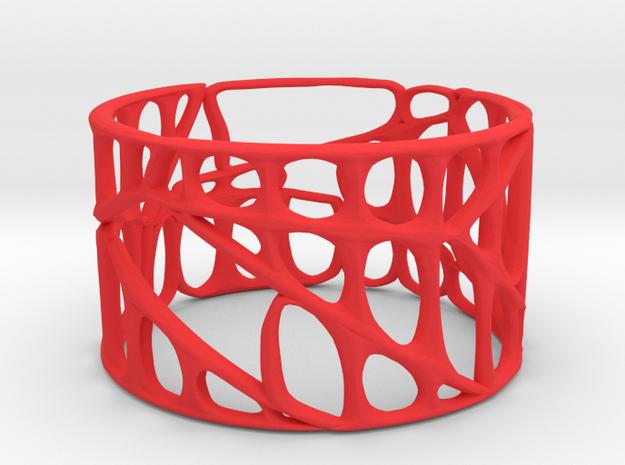 Voronoi Bracelet (001a) in Red Processed Versatile Plastic