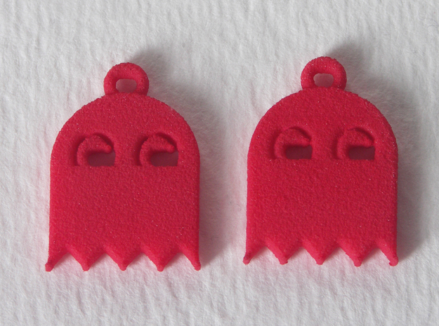 PacMan Ghost Earrings in Red Processed Versatile Plastic