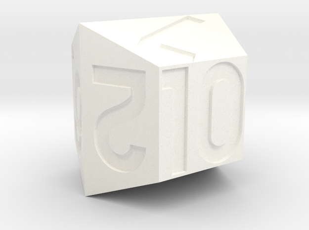 d10 with 4-fold rotational symmetry Numbered 1-10 in White Processed Versatile Plastic