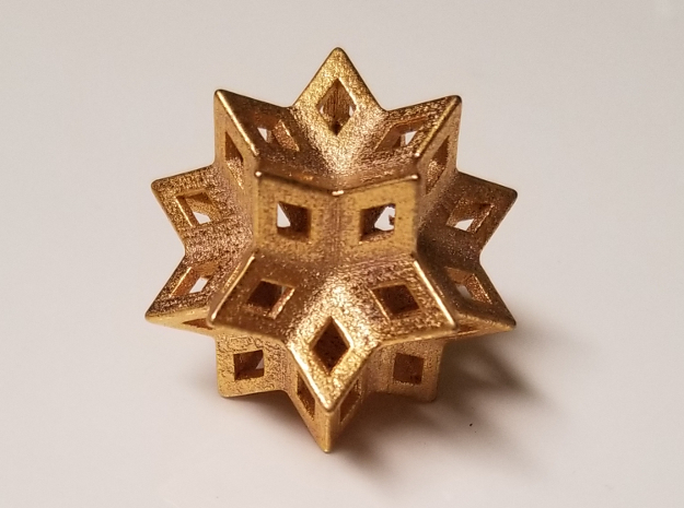"""Rhombic Hexecontahedron Steel 1.4"""" in Polished Gold Steel"""