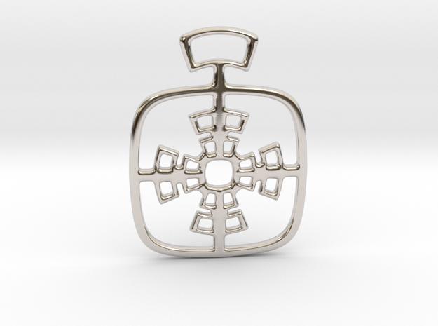 Geometric cross. Pendant  in Rhodium Plated Brass