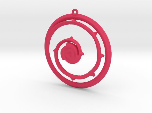Steven Universe Shield Pendant version 3 in Pink Processed Versatile Plastic