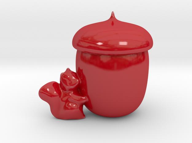 Squirrel Candle Holder/Secret Storage in Gloss Red Porcelain