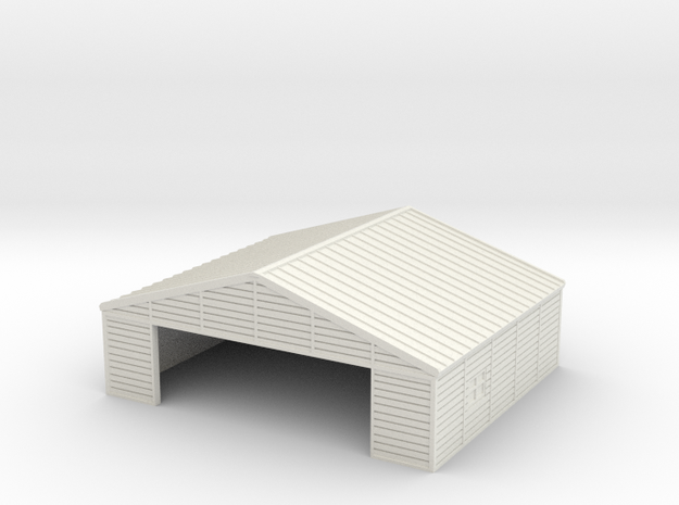 1:285 Wooden Hangar 1 in White Natural Versatile Plastic