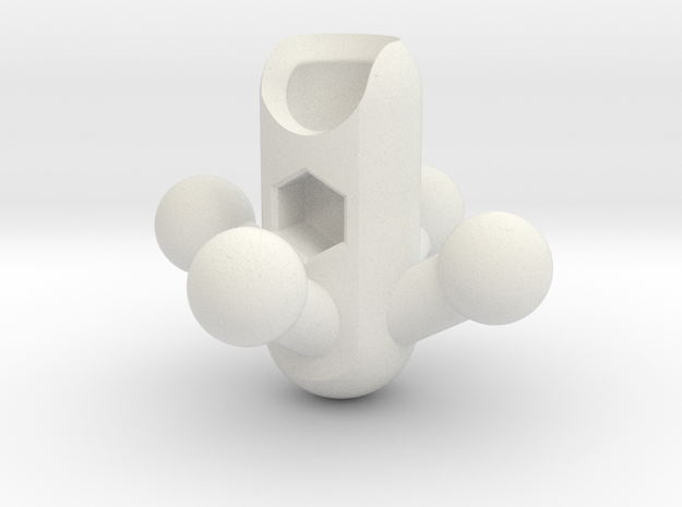 4-Leg RoBorg Hip for ModiBot in White Natural Versatile Plastic