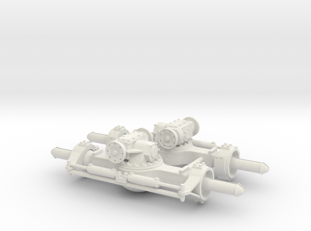 AXLE PAIR - TWO STEER - REVERSED TOP LOADER in White Natural Versatile Plastic
