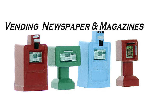 NewsPaper Vending Machines O Scale in Smooth Fine Detail Plastic