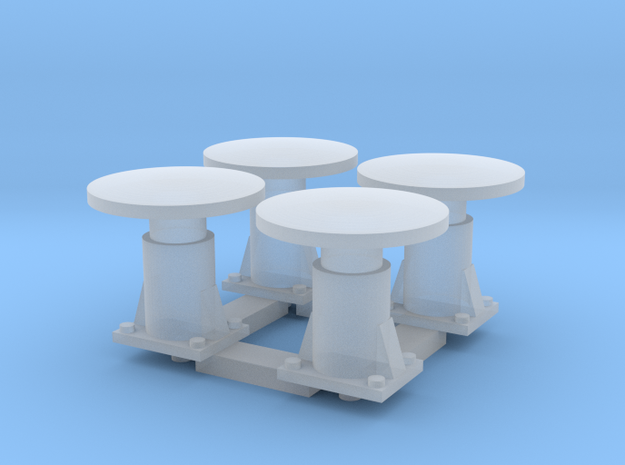 4 Round Buffers for CIE Container wagons in Smooth Fine Detail Plastic