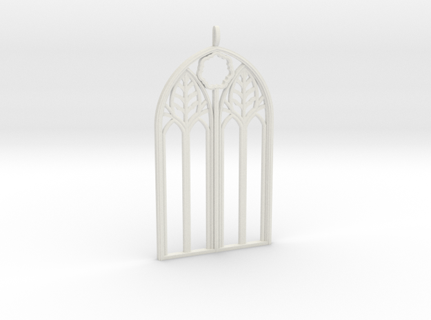 Neo-Gothic Arch Pendant in White Strong & Flexible