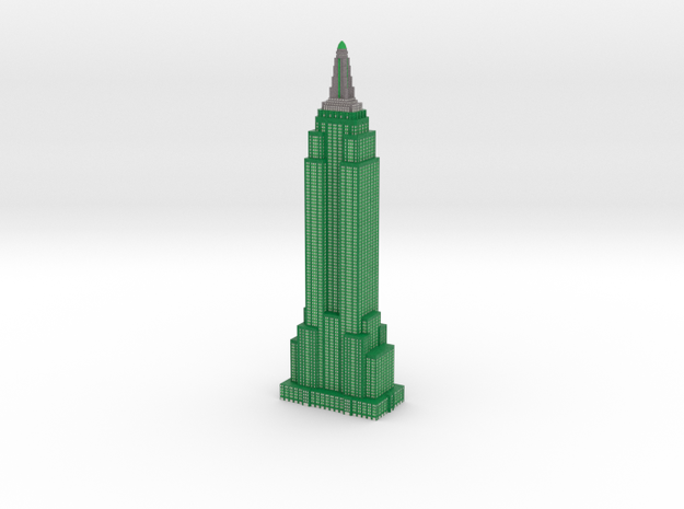 Empire State Building - Dark Green w White Windows in Full Color Sandstone