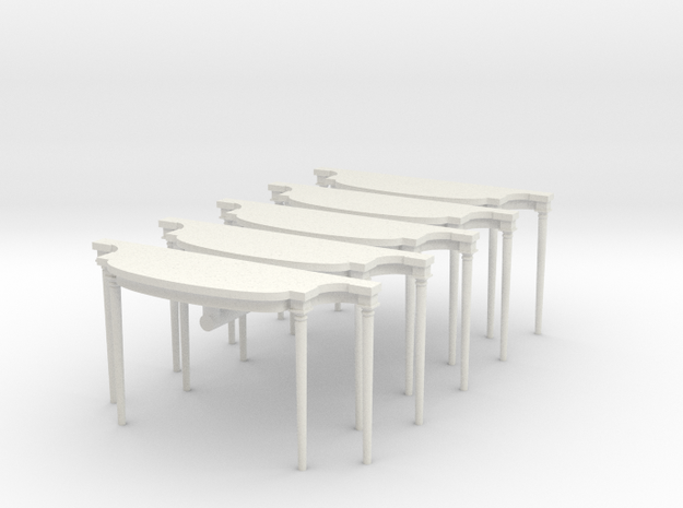 5 - 1:48 Louis XVI Console Side Table in White Natural Versatile Plastic