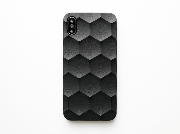 iPhone X case_Hexagon in Black Premium Versatile Plastic