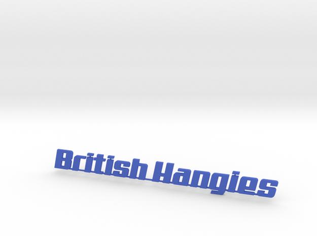 British Hangies Car Badge in Blue Processed Versatile Plastic