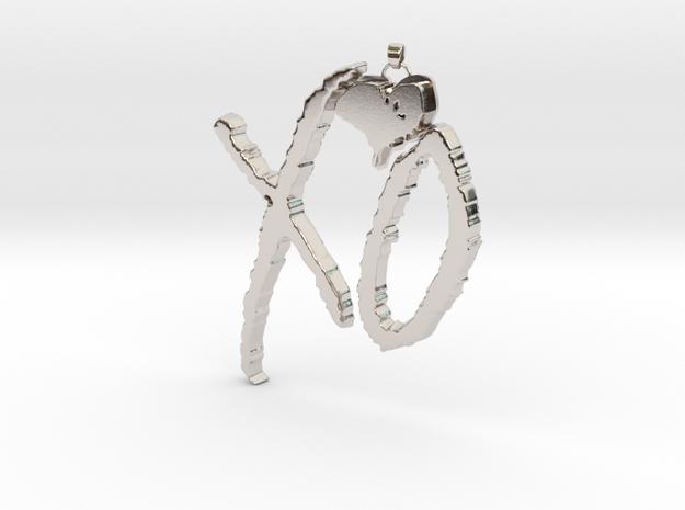 XO Pendant in Rhodium Plated