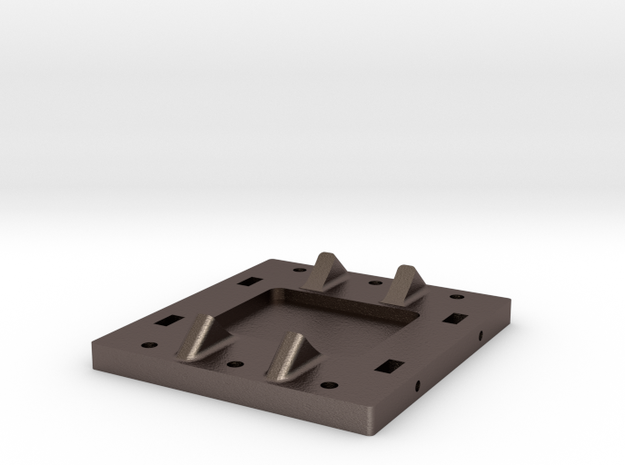 Tender Brake Cylinder Base Plate rev.B in Polished Bronzed Silver Steel