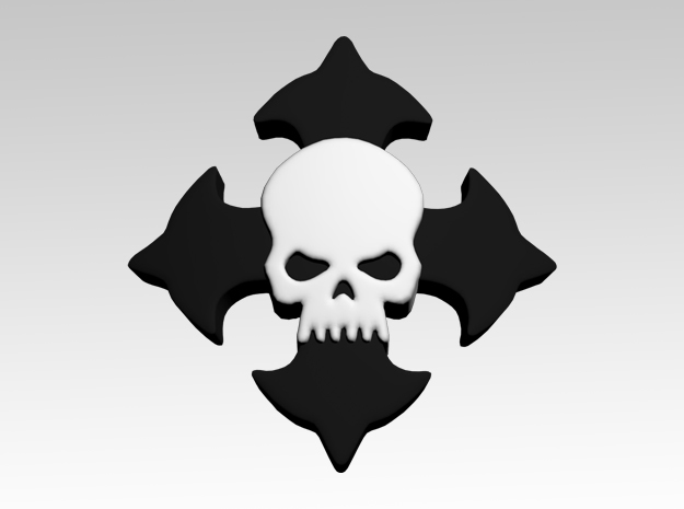 Skull & Cross Shoulder Icons x50 in Smooth Fine Detail Plastic
