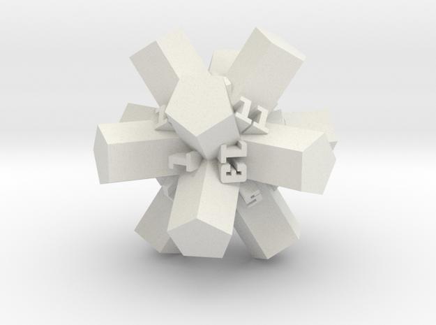 Brutalist Dice Set — Version 1 Singles in White Natural Versatile Plastic: d20