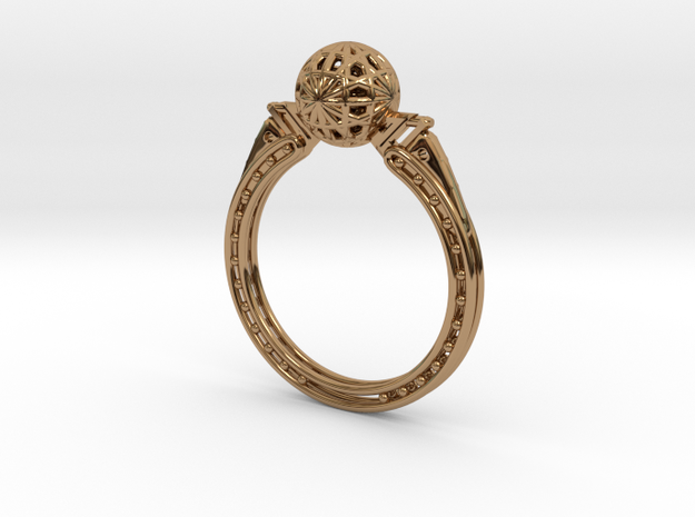 Art Nouveau Sphere Ring in Polished Brass