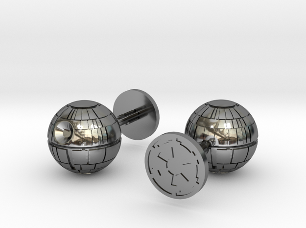 Death Star Cufflinks in Fine Detail Polished Silver