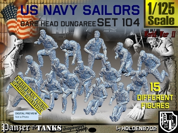 1/125 USN Dungaree Barehead Set104