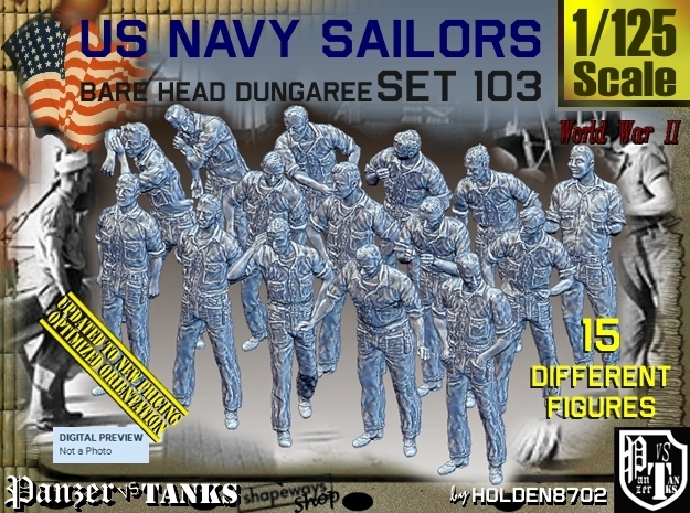 1/125 USN Dungaree Barehead Set103