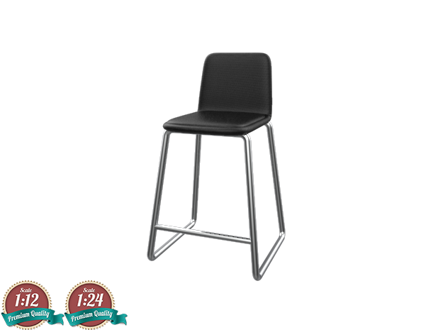 Miniature Paone Bar Stool - Paone Architecture in White Strong & Flexible: 1:12