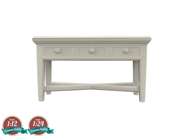 Miniature Console Table 3 Drawers - Dantone Home in White Natural Versatile Plastic: 1:24